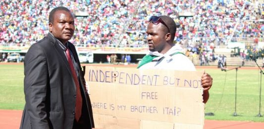 Patson Dzamara, brother to missing activist Itai Dzamara, was brutally assaulted by state security agents on Monday after his one-man demonstration in front of President Robert Mugabe at the National Sports Stadium