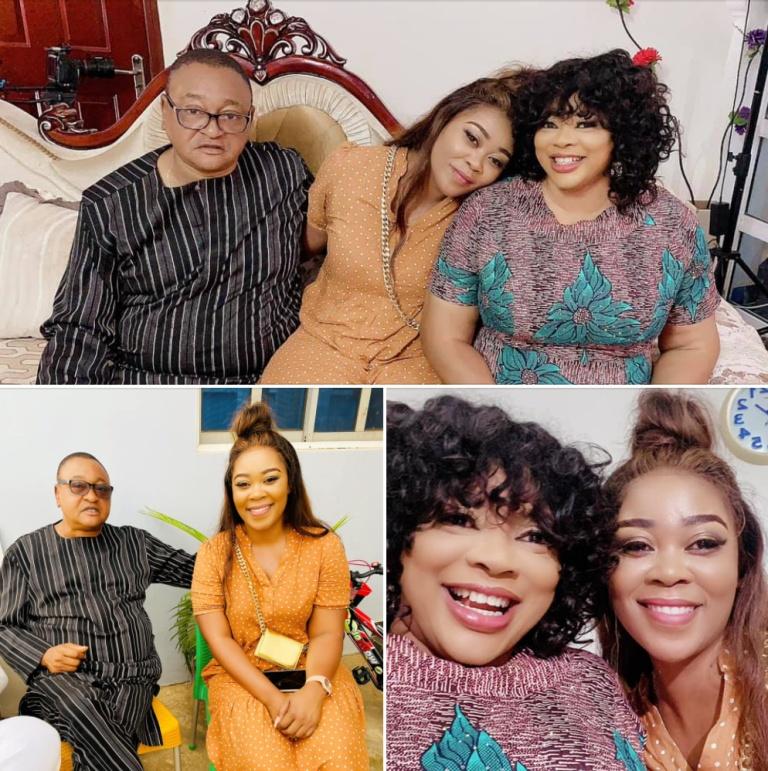 Madam Boss posed with actor and film director Prince Jide Kosoko (A real royal Nigerian prince) and actress Ayo Adesanya.