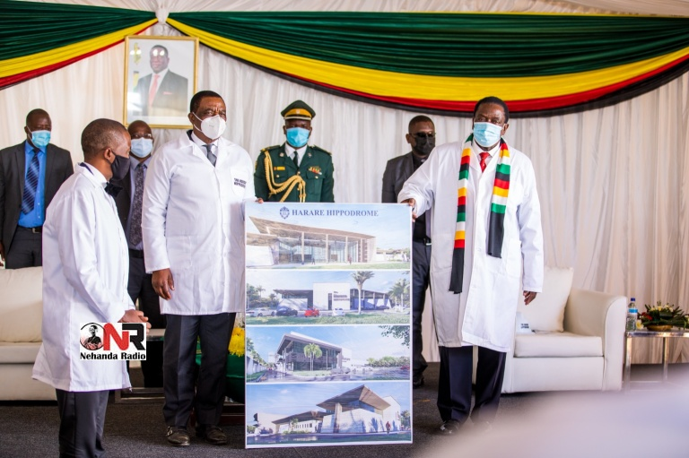 """President Emmerson Mnangagwa and Vice President Constantino Chiwenga on Friday officiated at the ground breaking ceremony for Prophet Uebert Angel's 6350 seater """"Harare Hippodrome"""" and 40 executive suite only """"Beethoven Hotel"""" in Harare."""